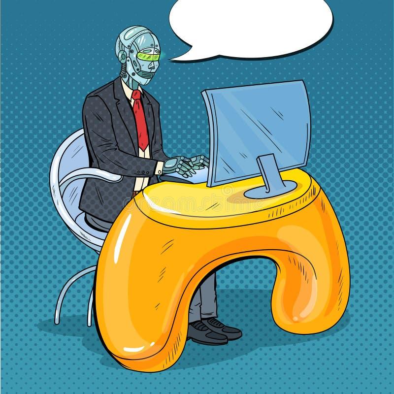Knall Art Futuristic Robotic Man Working mit Computer Intelligenztechnologie RoboterBüroangestellter stock abbildung
