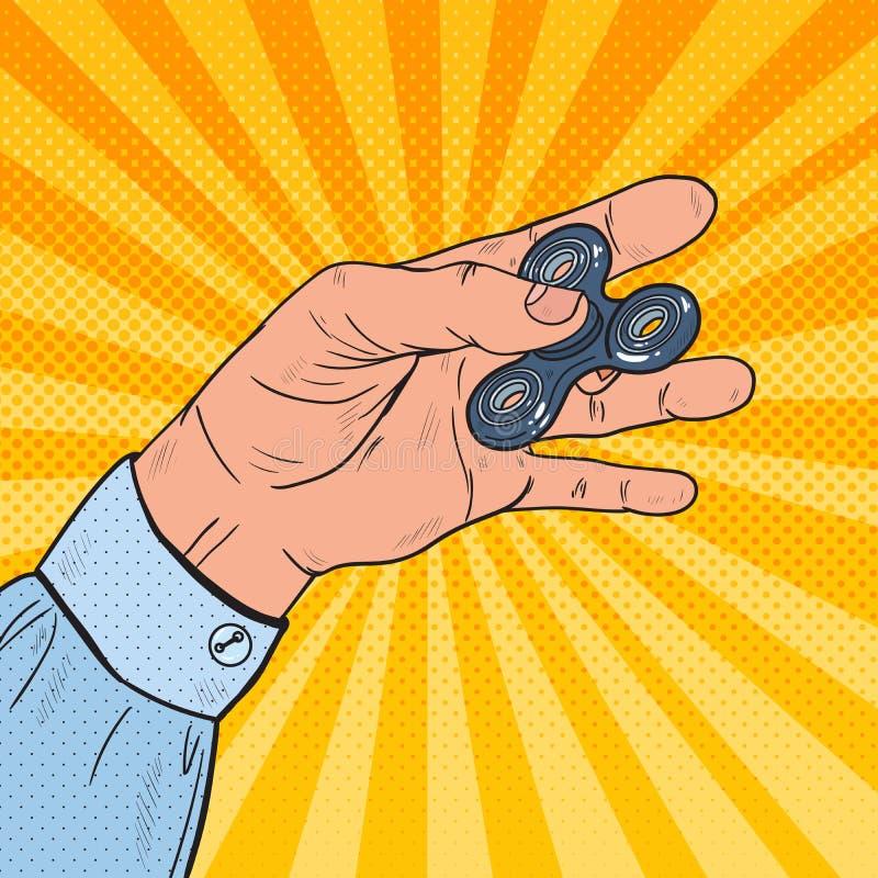 Knall Art Hand Playing mit populärem Unruhe-Spinner-Spielzeug Druck-Entlastung stock abbildung
