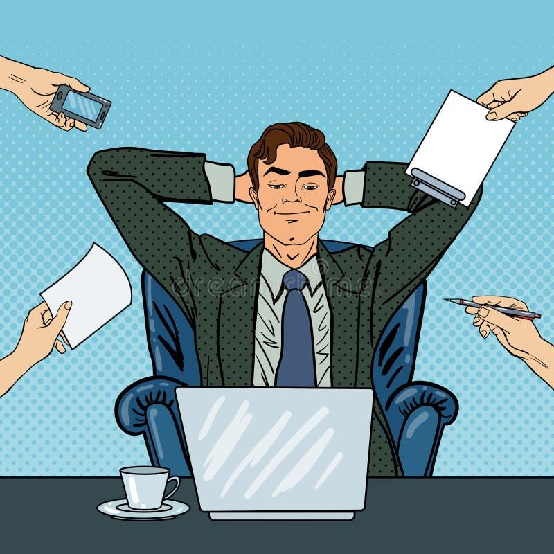 Knall Art Happy Businessman mit Laptop am Mehrere Dinge gleichzeitig tun der Büro-Arbeit vektor abbildung