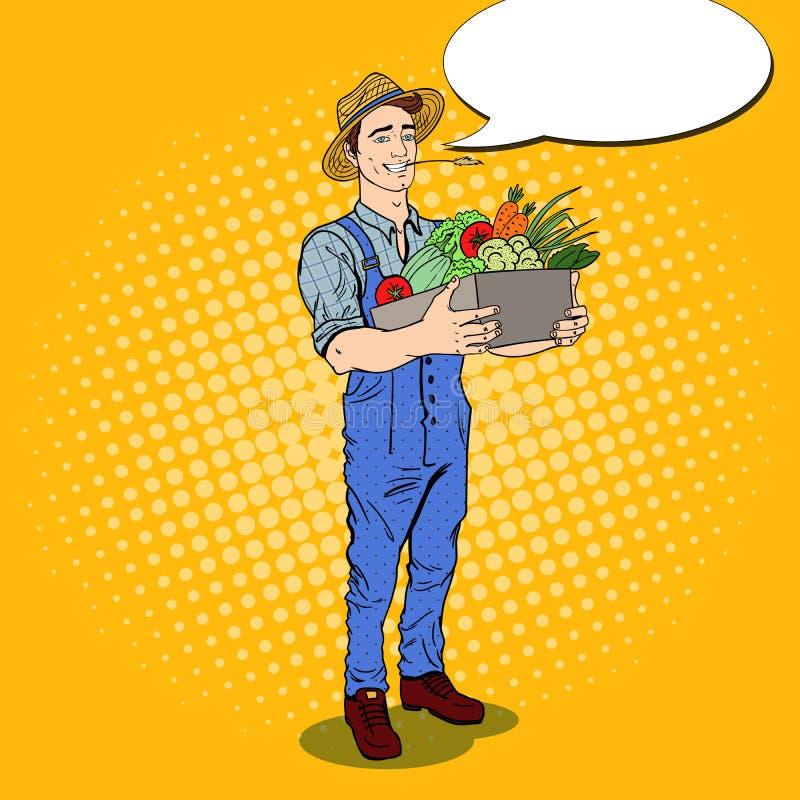 Knall Art Happy Farmer Holding Basket mit Frischgemüse lizenzfreie abbildung