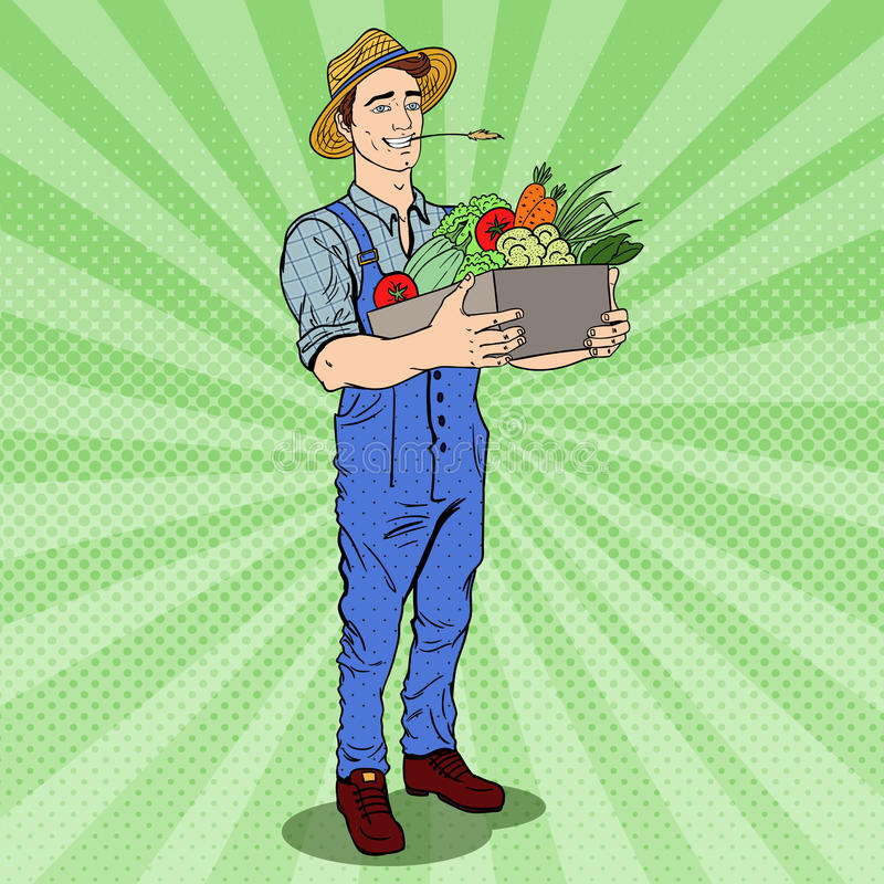 Knall Art Happy Farmer Holding Basket mit Frischgemüse vektor abbildung
