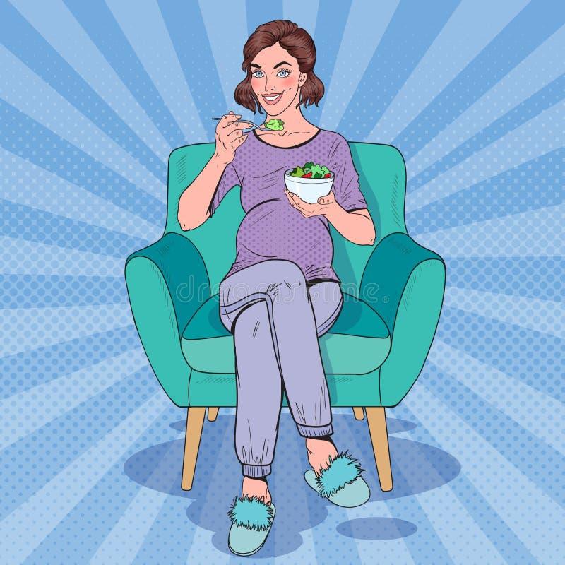 Knall-Art Happy Pregnant Woman Eating-Salat zu Hause Gesundes Lebensmittel, Mutterschafts-Konzept stock abbildung