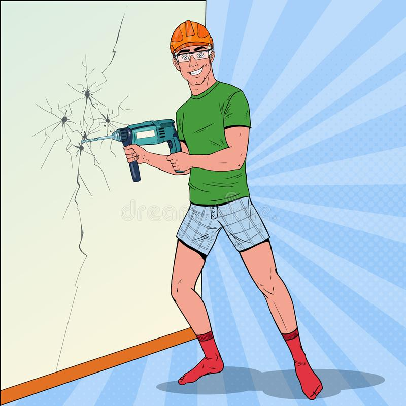 Knall Art Man Drilling die Wand mit Perforator Schlosser im Sturzhelm mit Bohrgerät vektor abbildung