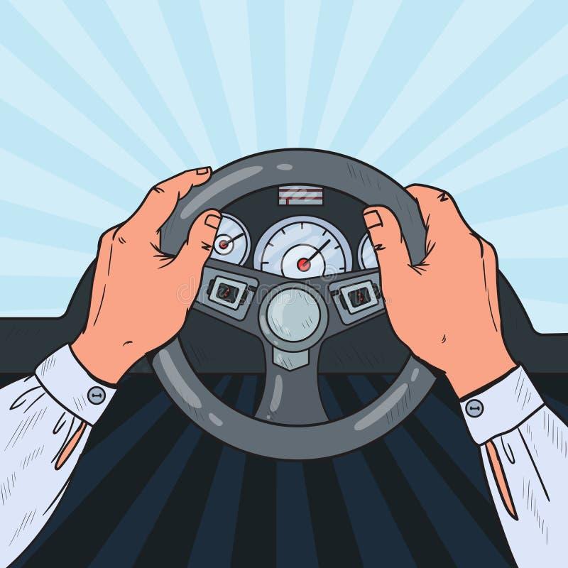 Knall-Art Man Hands Steering Car-Rad Sicheres Antreiben vektor abbildung