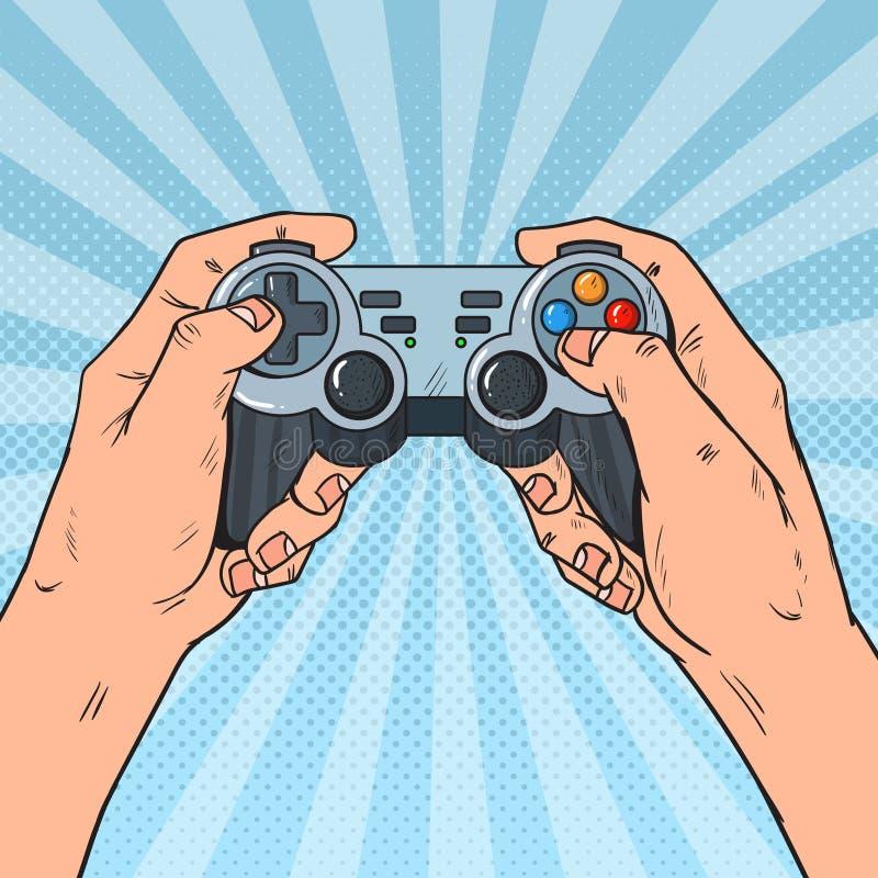 Knall Art Man Holding Gamepad Männliche Hände mit Steuerknüppel-Konsole Videospiel stock abbildung
