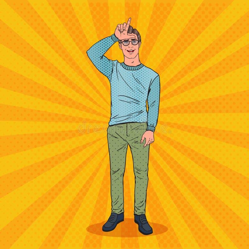 Knall Art Man Showing Loser Sign auf Stirn Gesichtsausdruck des negativen menschlichen Gefühls stock abbildung