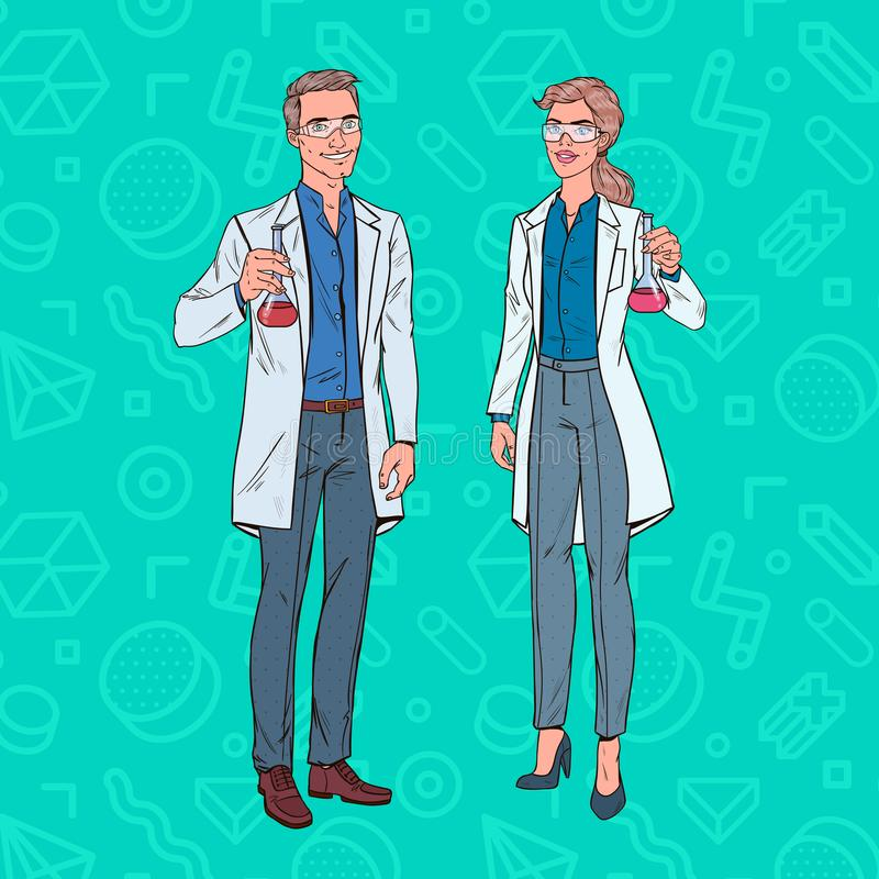 Knall Art Man und Frauen-Wissenschaftler mit Flasche Laborforscher Chemie-Pharmakologie-Konzept lizenzfreie abbildung