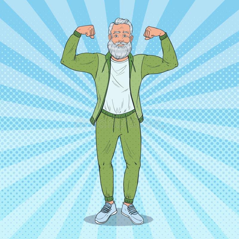 Knall-Art Mature Senior Man Showing-Muskeln Glücklicher starker Großvater Gesunder Lebensstil lizenzfreie abbildung