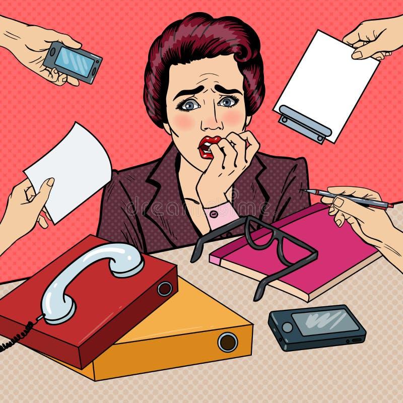 Knall Art Nervous Business Woman Biting ihre Finger am Mehrere Dinge gleichzeitig tun der Büro-Arbeit lizenzfreie abbildung