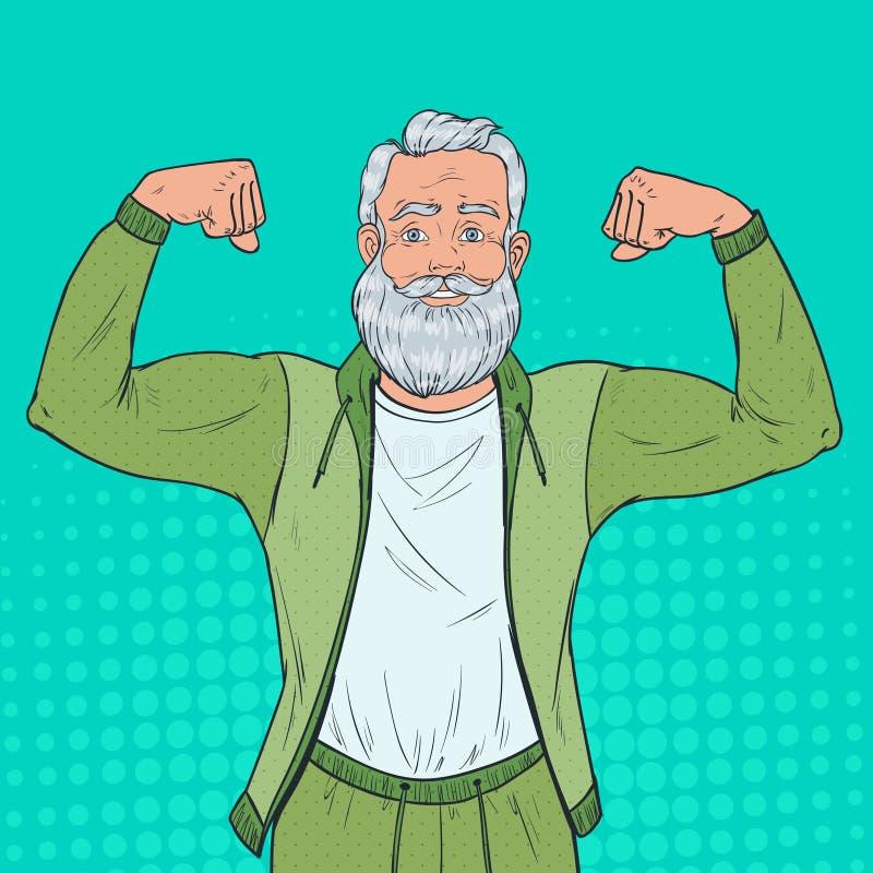 Knall Art Portrait des reifen älteren Mannes, der Muskeln zeigt Glücklicher starker Großvater Gesunder Lebensstil vektor abbildung