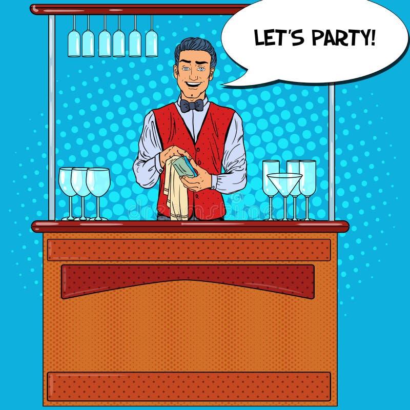 Knall Art Smiling Barman Wiping Glass in der Nachtklub-Stange lizenzfreie abbildung