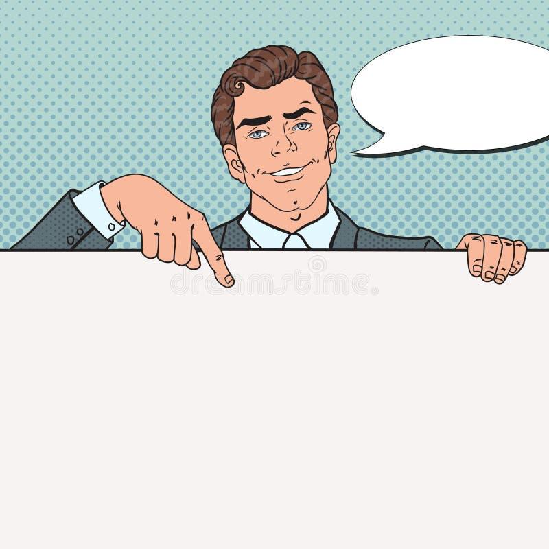 Knall Art Smiling Businessman Pointing auf leerem Plakat Schablone für Ihre Anzeige Mann, der leere Fahne hält lizenzfreie abbildung