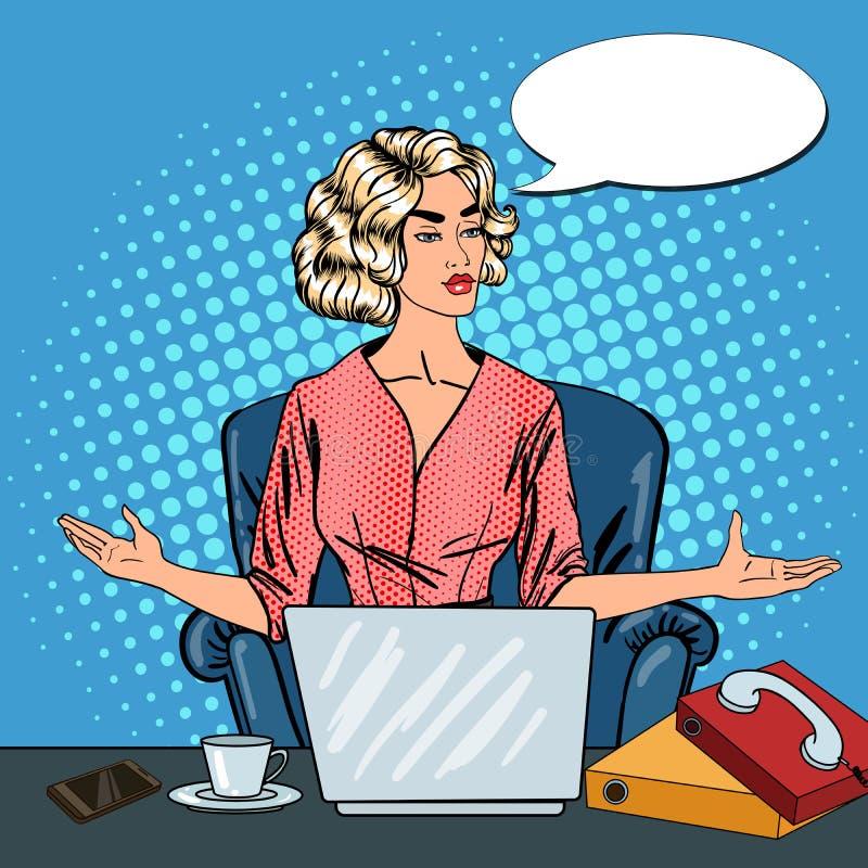 Knall Art Stressed Business Woman mit Laptop am Mehrere Dinge gleichzeitig tun der Büro-Arbeit vektor abbildung