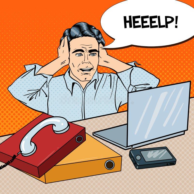 Knall Art Stressed Businessman bei der Büro-Arbeit mit Telefon und Laptop lizenzfreie abbildung