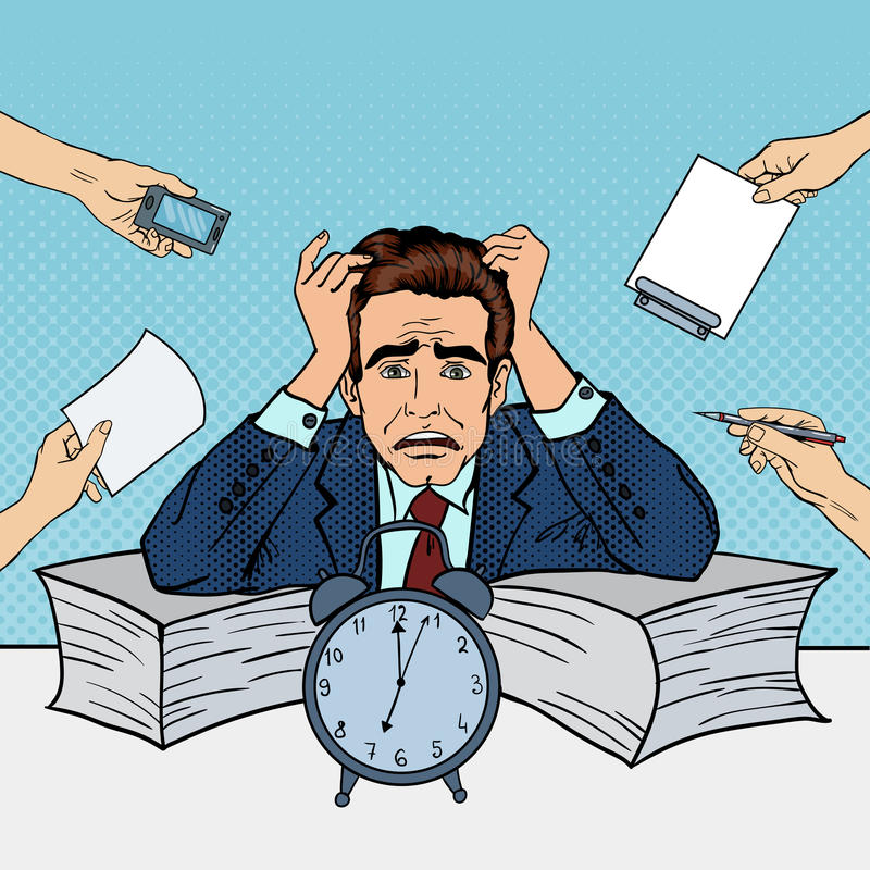 Knall Art Stressed Businessman am Mehrere Dinge gleichzeitig tun der Büro-Arbeit vektor abbildung