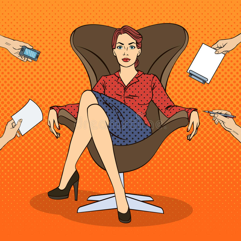 Knall Art Successful Business Woman Sitting im Luxusstuhl am Mehrere Dinge gleichzeitig tun der Büro-Arbeit vektor abbildung