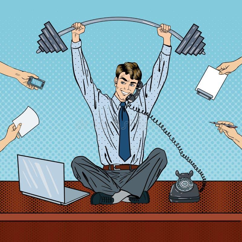 Knall Art Successful Businessman am Mehrere Dinge gleichzeitig tun der Büro-Arbeit vektor abbildung