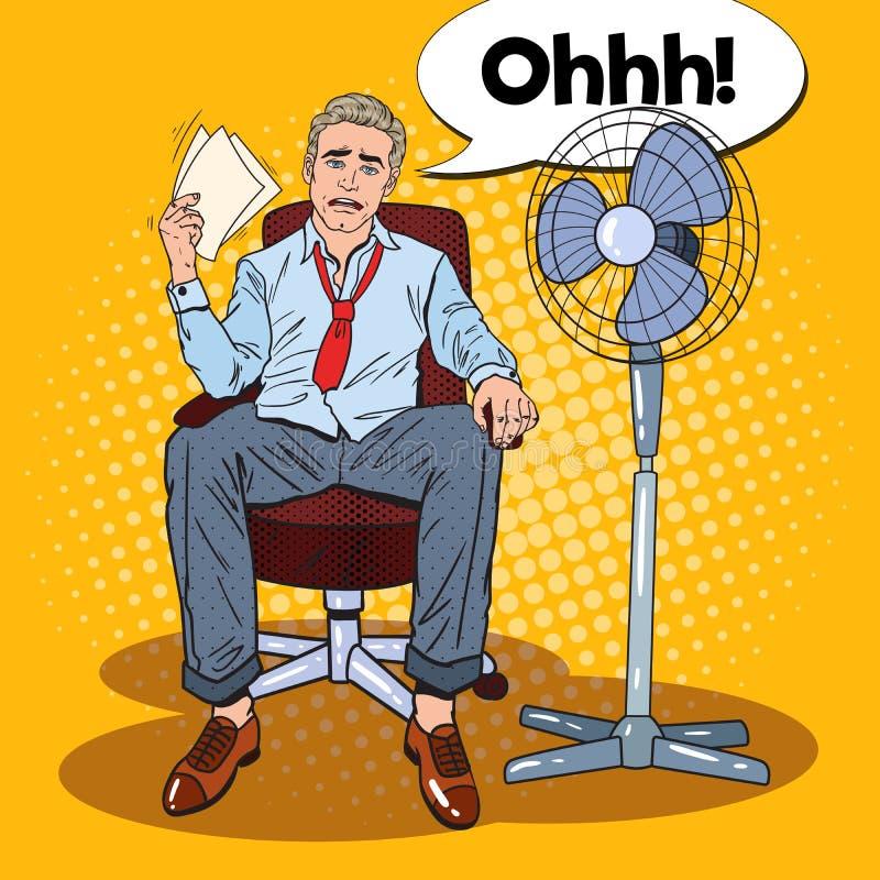 Knall Art Sweating Businessman vor Fan bei der Büro-Arbeit Heiß die Sonne lizenzfreie abbildung