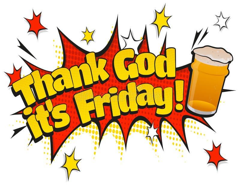 Knall Art Thank God sein Zeichen Freitag-halben Liters Tages lizenzfreie abbildung