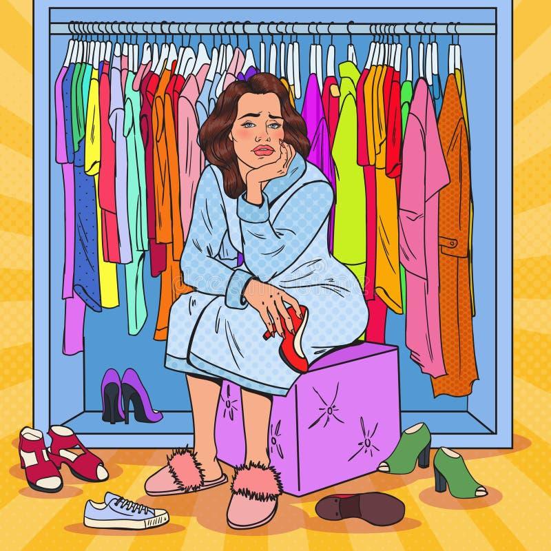 Knall-Art Upset Pretty Woman Choosing-Schuhe in der Garderobe Weibliche Mode-Kleidung lizenzfreie abbildung