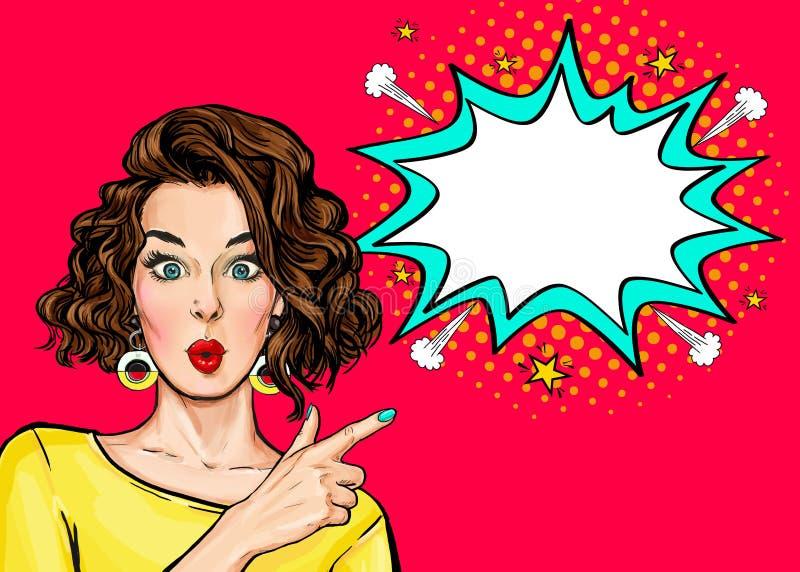 Knall-Art Woman-Überraschung, die Produkt zeigt Schönes Mädchen mit dem gelockten Haar zeigend auf auf Blase stock abbildung