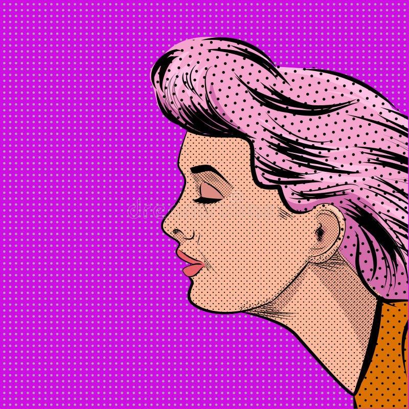 Knall Art Woman in der Profil-Vektorillustration vektor abbildung