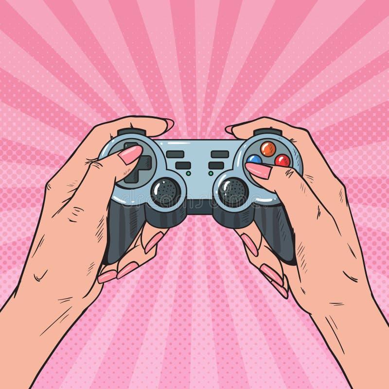 Knall Art Woman Holding Gamepad Weibliche Hände mit Steuerknüppel-Konsole Videospiel stock abbildung