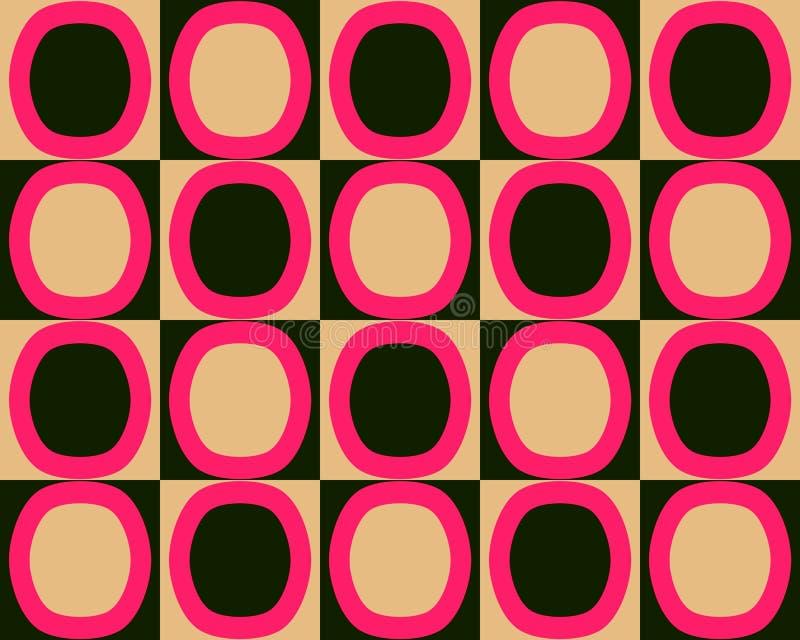 Knall-Kunst-Alternativoval-Muster-rote schwarze Orange vektor abbildung