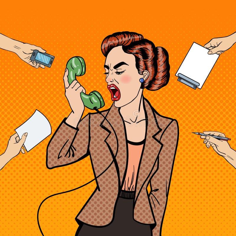 Knallen Sie Art Aggressive Business Woman Screaming in das Telefon am Mehrere Dinge gleichzeitig tun der Büro-Arbeit vektor abbildung