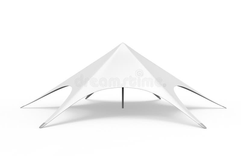 Knallen Sie oben den Hauben-Spinnenstern, der weißes leeres Ereignis-Zelt annonciert 3d übertragen Abbildung stock abbildung