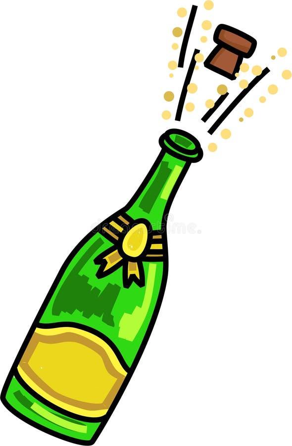 Knallend Champagne Celebration Cartoon royalty-vrije illustratie