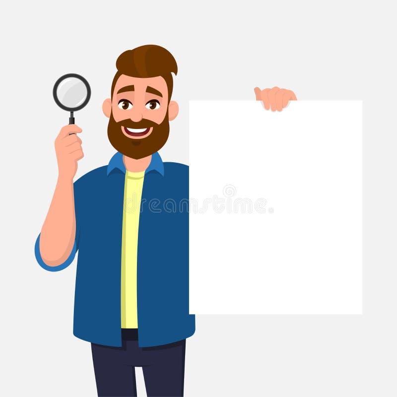 Knap gebaard het jonge van de mensen ter beschikking tonen/holding vergrootglas en lege/lege affiche, document of blad Het Zoeken vector illustratie