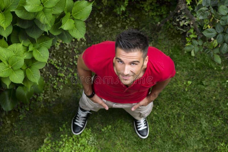 Knap, geschikt mannelijk model die omhoog in openlucht op gras kijken royalty-vrije stock foto's