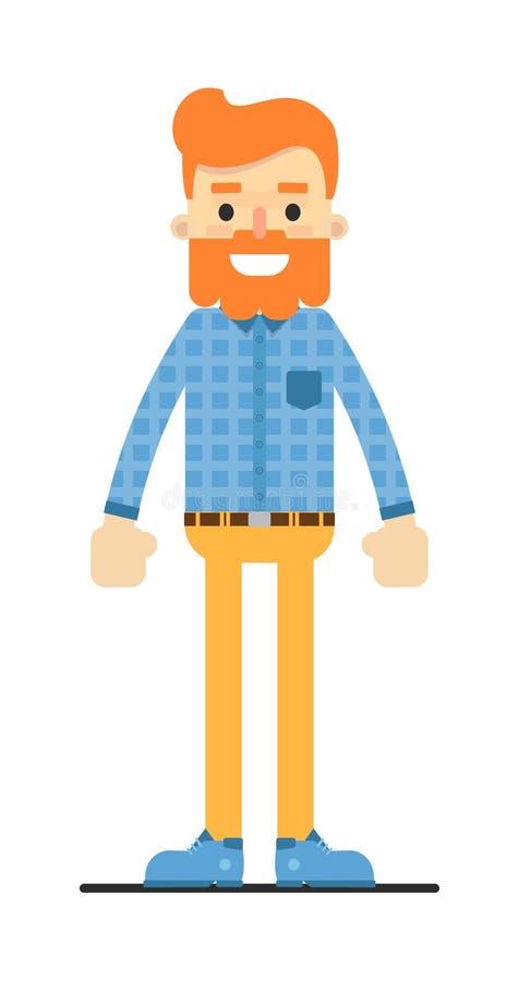 Knap redheaded gebaard hipsterkarakter stock illustratie