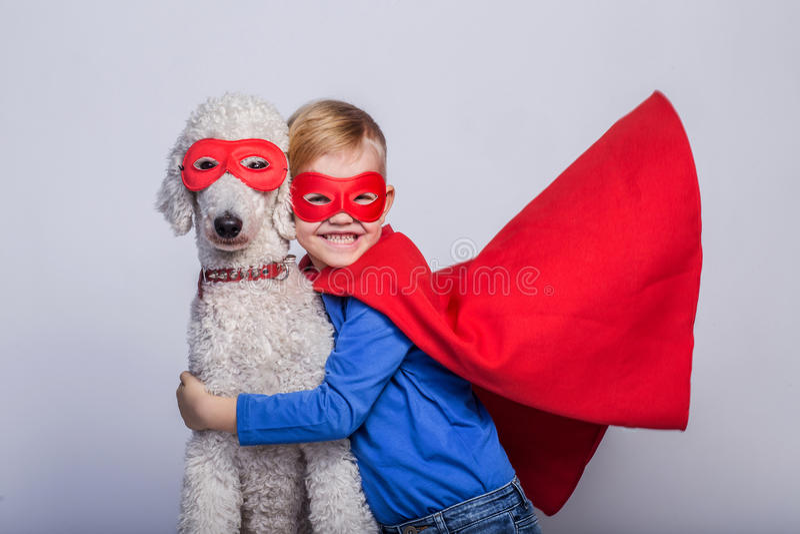 Knap weinig superman met hond superhero Halloween Studioportret over witte achtergrond stock afbeelding