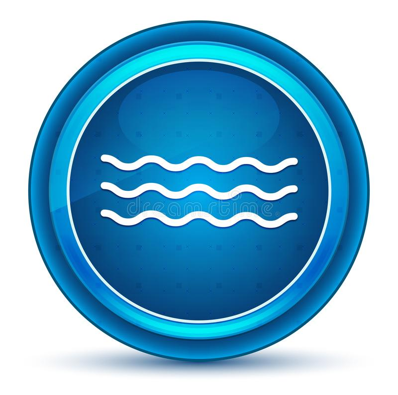 Knapp för ögonglob för havsvågsymbol blå rund vektor illustrationer