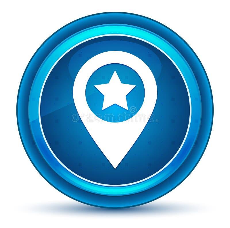 Knapp för ögonglob för symbol för översiktspekarestjärna blå rund royaltyfri illustrationer