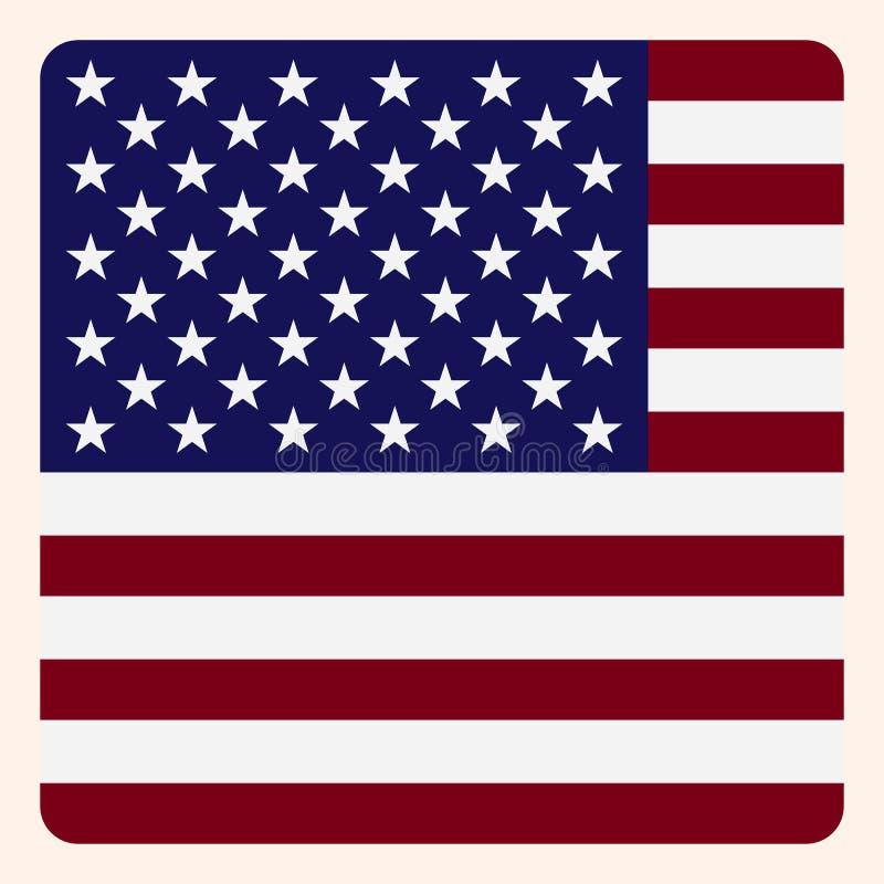 Knapp för Amerika fyrkantflagga, socialt massmediakommunikationstecken stock illustrationer