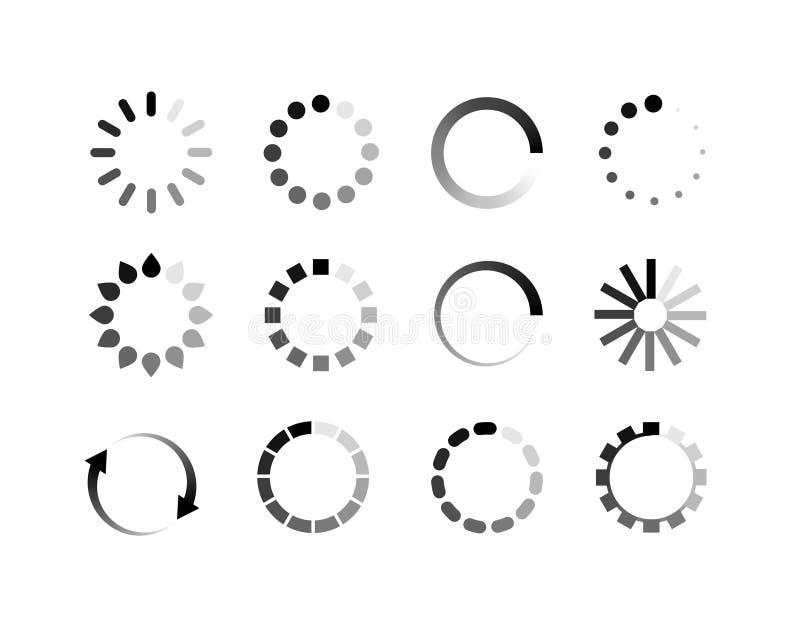 Knapp för cirkel för laddarsymbolsvektor Stången för framsteg för påfyllningteckenymbolen för laddar upp nedladdningrundaprocess vektor illustrationer