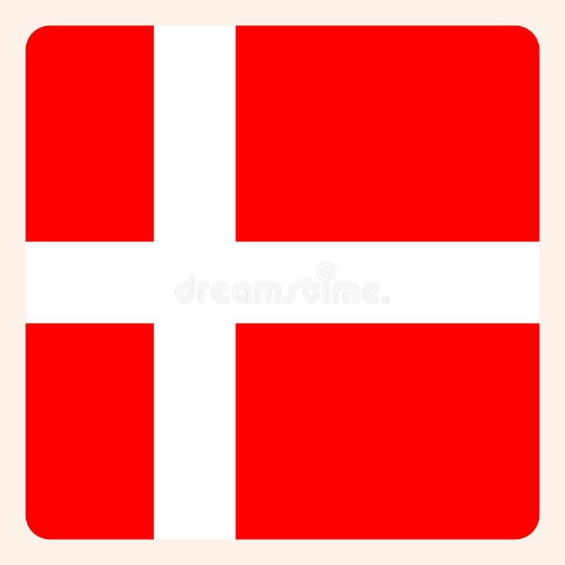 Knapp för Danmark fyrkantflagga, socialt massmediakommunikationstecken royaltyfri illustrationer