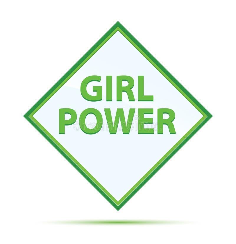 Knapp för diamant för flickamakt modern abstrakt grön royaltyfri illustrationer