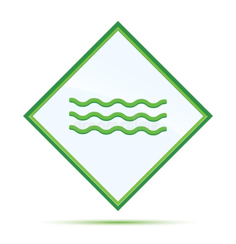 Knapp för diamant för havsvågsymbol modern abstrakt grön royaltyfri illustrationer