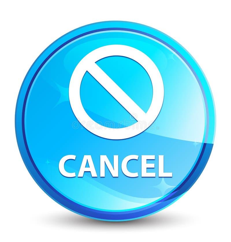 Knapp för färgstänk för annullering (förbudteckensymbol) naturlig blå rund stock illustrationer