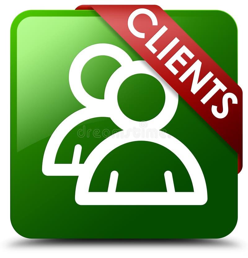 Knapp för fyrkant för gräsplan för klientgruppsymbol royaltyfri illustrationer