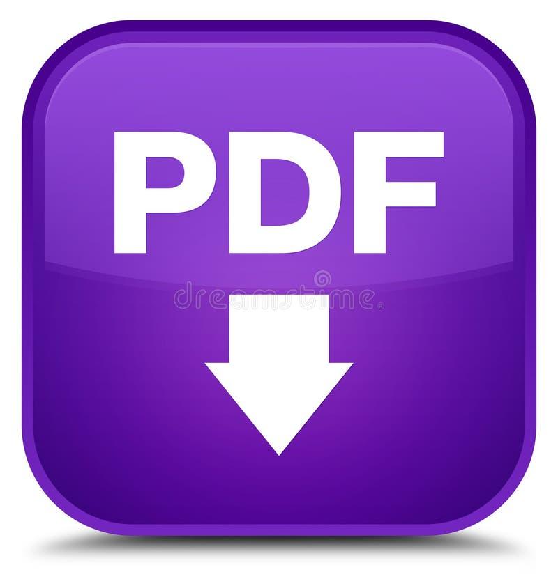 Knapp för fyrkant för lilor för PDF-nedladdningsymbol special stock illustrationer