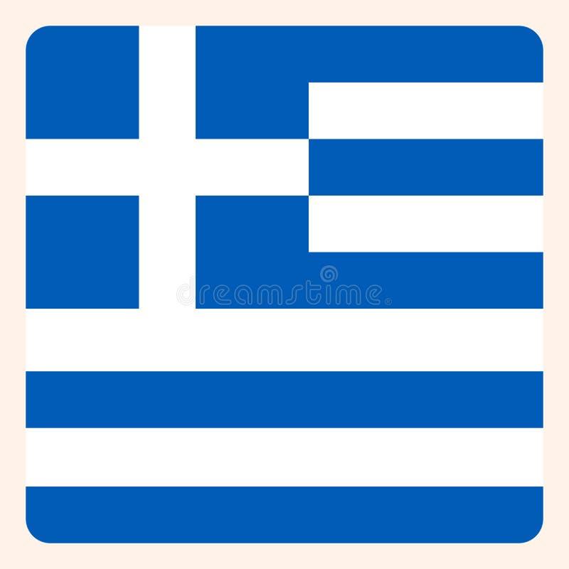 Knapp för Grekland fyrkantflagga, socialt massmediakommunikationstecken royaltyfri illustrationer