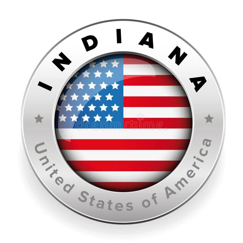Knapp för Indiana Usa flaggaemblem vektor illustrationer