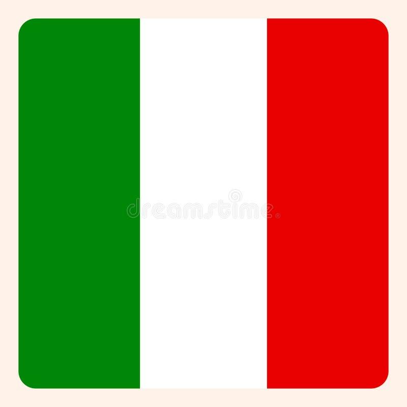 Knapp för Italien fyrkantflagga, socialt massmediakommunikationstecken vektor illustrationer