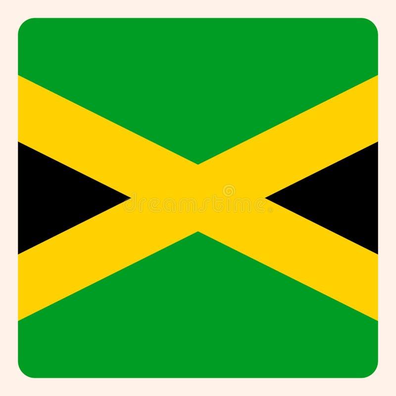 Knapp för Jamaica fyrkantflagga, socialt massmediakommunikationstecken, stock illustrationer