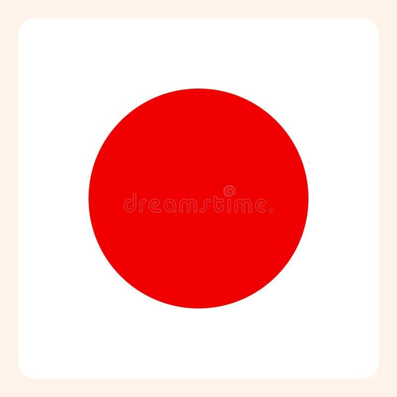 Knapp för Japan fyrkantflagga, socialt massmediakommunikationstecken stock illustrationer
